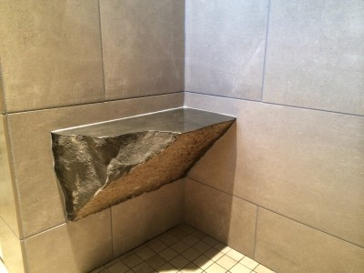 Rock shower bench