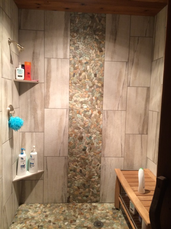 Waterfall tile bathroom remodel in Battle Ground, Washington